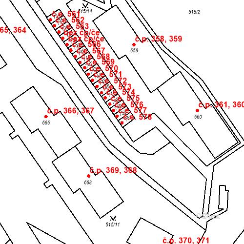 Katastrální mapa Stavební objekt Adamov 578, Adamov