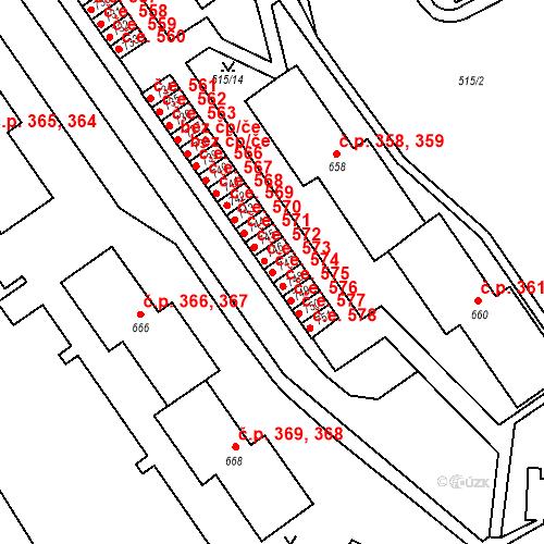 Katastrální mapa Stavební objekt Adamov 574, Adamov
