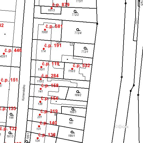 Katastrální mapa Stavební objekt Bílovice nad Svitavou 532, Bílovice nad Svitavou