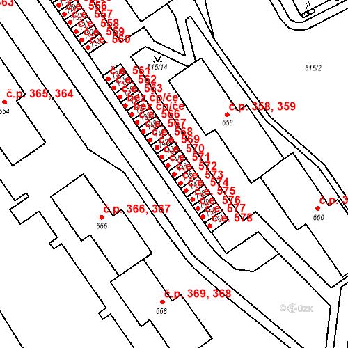 Katastrální mapa Stavební objekt Adamov 572, Adamov