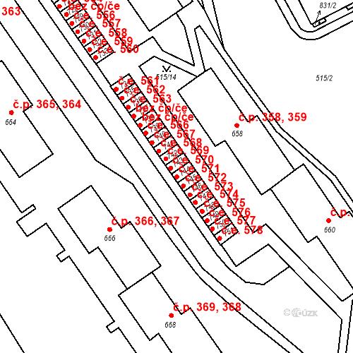 Katastrální mapa Stavební objekt Adamov 571, Adamov