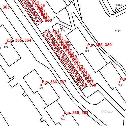 Katastrální mapa Stavební objekt Adamov 570, Adamov