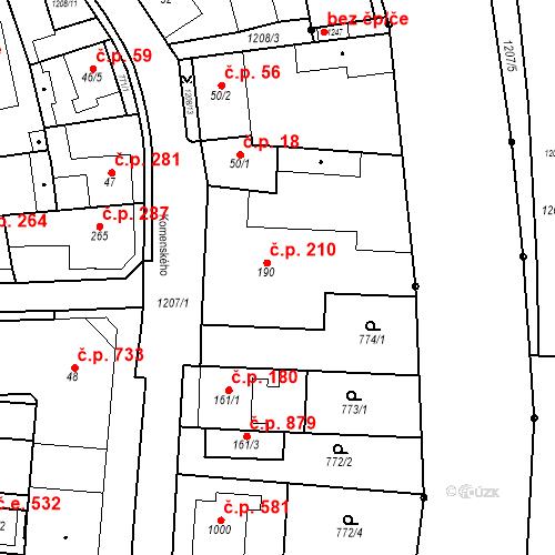 Katastrální mapa Stavební objekt Bílovice nad Svitavou 210, Bílovice nad Svitavou