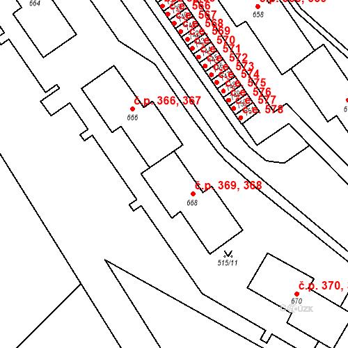 Katastrální mapa Stavební objekt Adamov 368, 369, Adamov