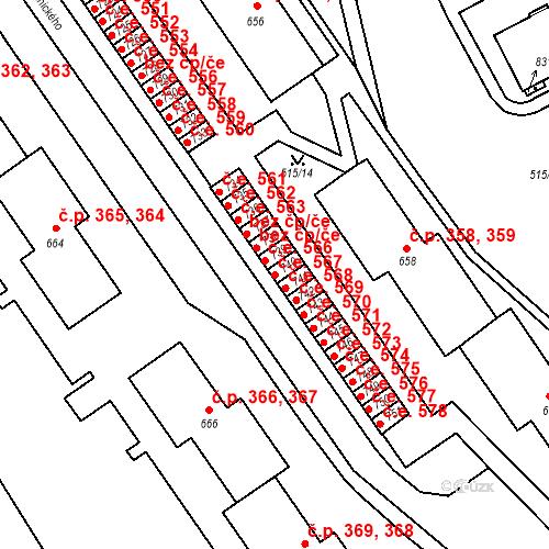 Katastrální mapa Stavební objekt Adamov 567, Adamov