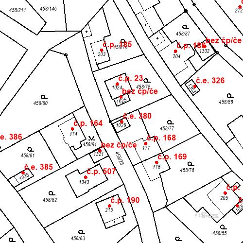 Katastrální mapa Stavební objekt Adamov 380, Adamov
