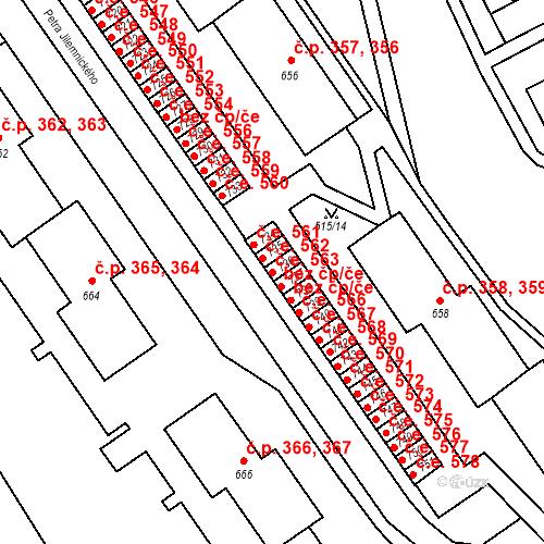 Katastrální mapa Stavební objekt Adamov 563, Adamov