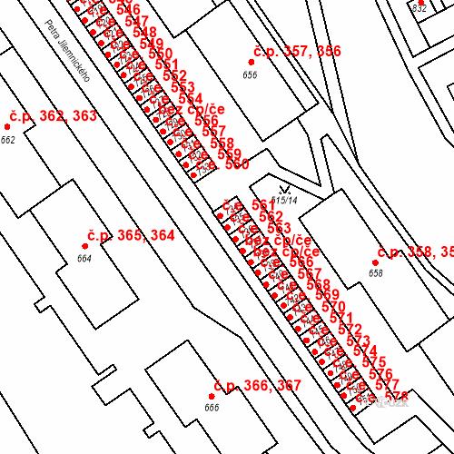 Katastrální mapa Stavební objekt Adamov 562, Adamov