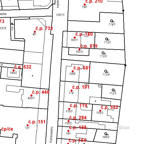 Katastrální mapa Stavební objekt Bílovice nad Svitavou 581, Bílovice nad Svitavou
