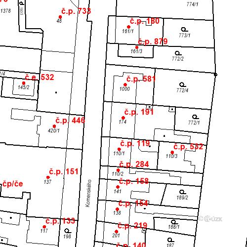 Katastrální mapa Stavební objekt Bílovice nad Svitavou 191, Bílovice nad Svitavou