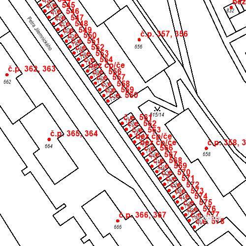 Katastrální mapa Stavební objekt Adamov 561, Adamov