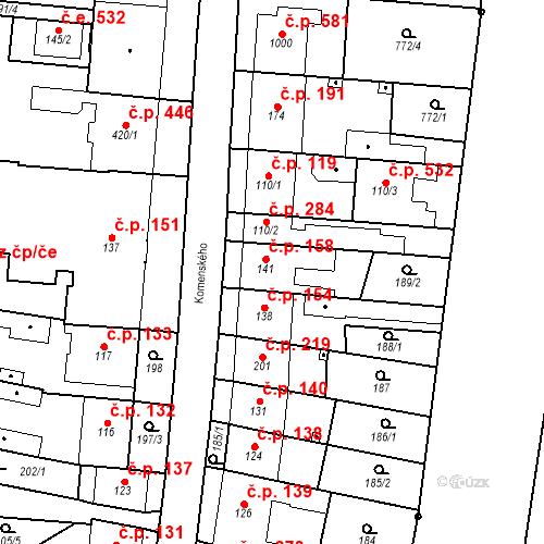 Katastrální mapa Stavební objekt Bílovice nad Svitavou 158, Bílovice nad Svitavou