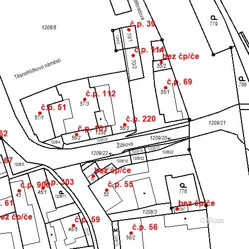 Katastrální mapa Stavební objekt Bílovice nad Svitavou 220, Bílovice nad Svitavou
