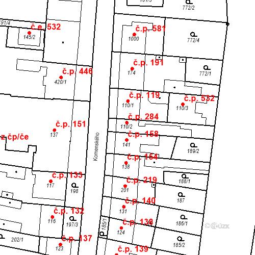 Katastrální mapa Stavební objekt Bílovice nad Svitavou 284, Bílovice nad Svitavou