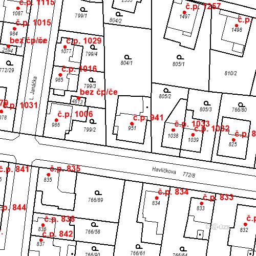 Katastrální mapa Stavební objekt Blansko 941, Blansko