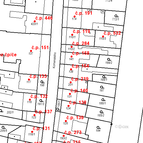 Katastrální mapa Stavební objekt Bílovice nad Svitavou 154, Bílovice nad Svitavou