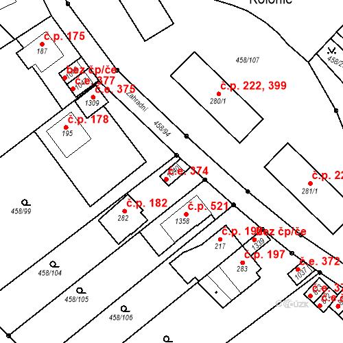 Katastrální mapa Stavební objekt Adamov 374, Adamov