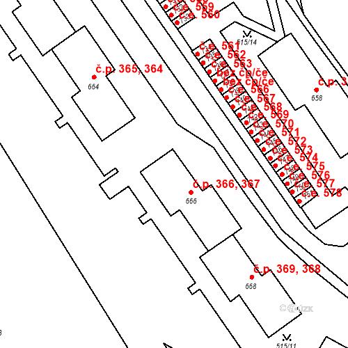 Katastrální mapa Stavební objekt Adamov 366, 367, Adamov