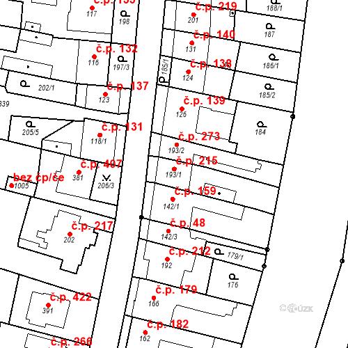 Katastrální mapa Stavební objekt Bílovice nad Svitavou 215, Bílovice nad Svitavou
