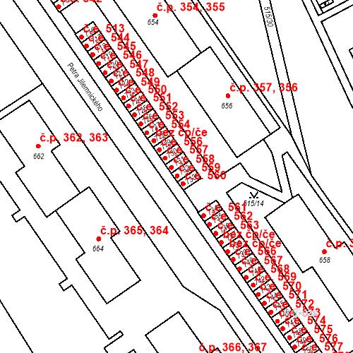 Katastrální mapa Stavební objekt Adamov 559, Adamov