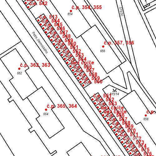Katastrální mapa Stavební objekt Adamov 558, Adamov