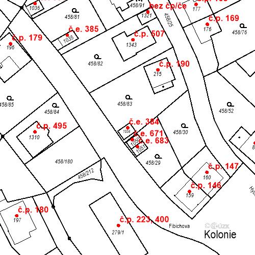 Katastrální mapa Stavební objekt Adamov 384, Adamov