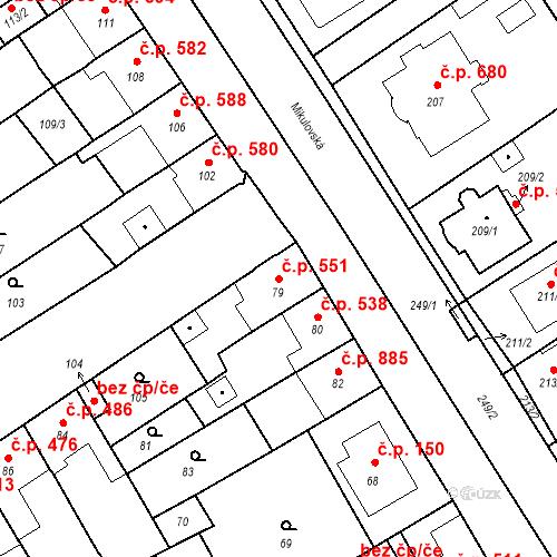 Katastrální mapa Stavební objekt Valtice 551, Valtice