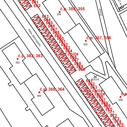 Katastrální mapa Stavební objekt Adamov 557, Adamov