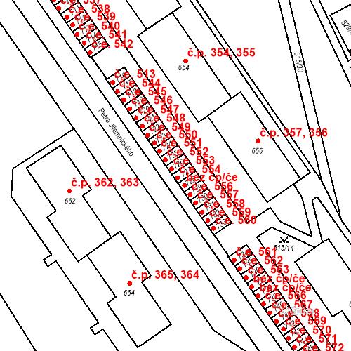 Katastrální mapa Stavební objekt Adamov 554, Adamov