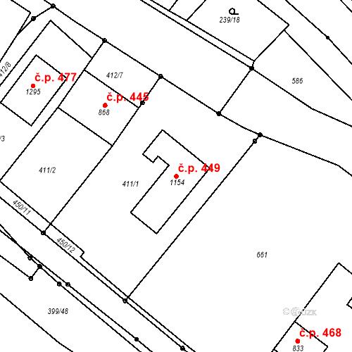 Katastrální mapa Stavební objekt Adamov 449, Adamov