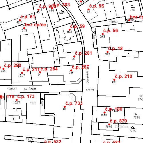 Katastrální mapa Stavební objekt Bílovice nad Svitavou 287, Bílovice nad Svitavou