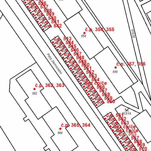 Katastrální mapa Stavební objekt Adamov 552, Adamov