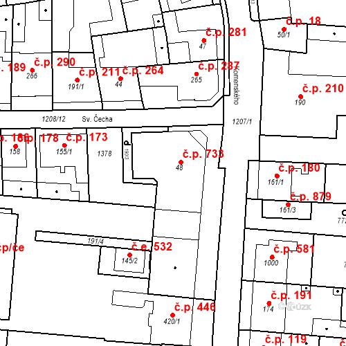 Katastrální mapa Stavební objekt Bílovice nad Svitavou 733, Bílovice nad Svitavou