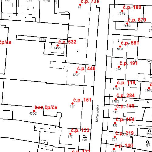 Katastrální mapa Stavební objekt Bílovice nad Svitavou 446, Bílovice nad Svitavou