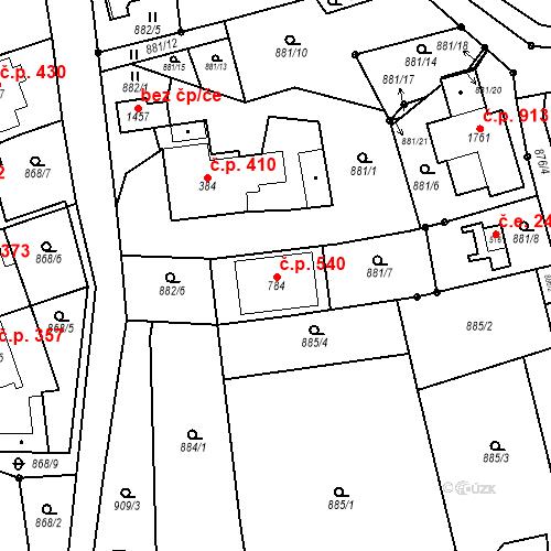 Katastrální mapa Stavební objekt Bílovice nad Svitavou 540, Bílovice nad Svitavou