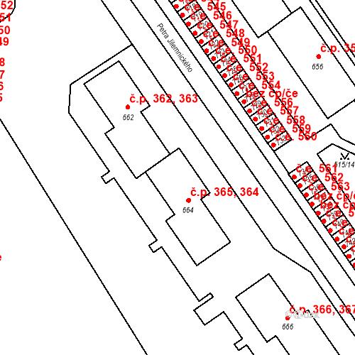Katastrální mapa Stavební objekt Adamov 364, 365, Adamov