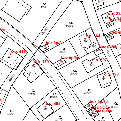 Katastrální mapa Stavební objekt Adamov 385, Adamov