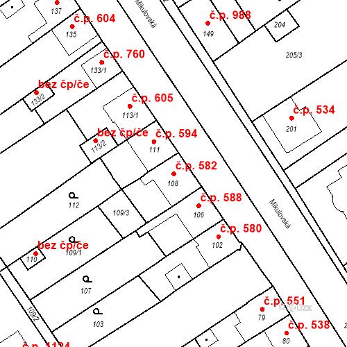 Katastrální mapa Stavební objekt Valtice 582, Valtice