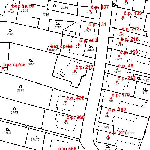 Katastrální mapa Stavební objekt Bílovice nad Svitavou 217, Bílovice nad Svitavou