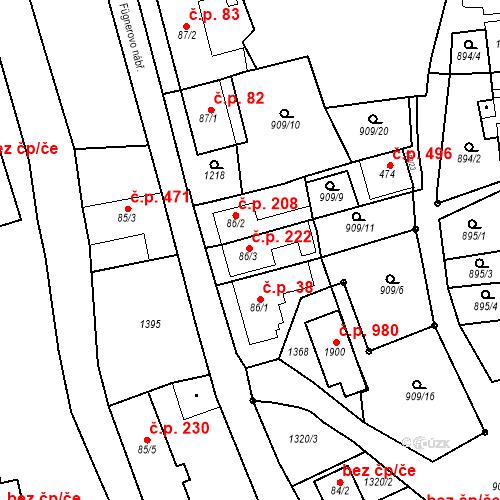 Katastrální mapa Stavební objekt Bílovice nad Svitavou 222, Bílovice nad Svitavou
