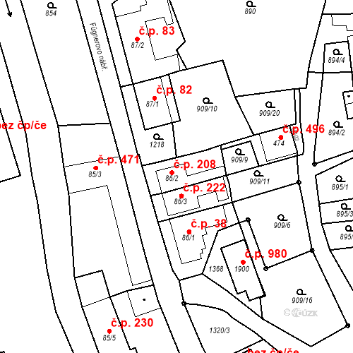 Katastrální mapa Stavební objekt Bílovice nad Svitavou 208, Bílovice nad Svitavou