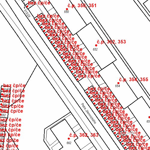 Katastrální mapa Stavební objekt Adamov 541, Adamov