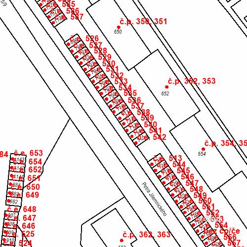 Katastrální mapa Stavební objekt Adamov 539, Adamov
