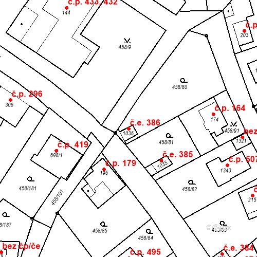 Katastrální mapa Stavební objekt Adamov 386, Adamov