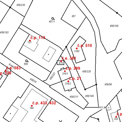 Katastrální mapa Stavební objekt Adamov 381, Adamov