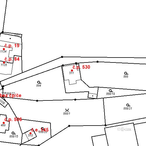 Katastrální mapa Stavební objekt Bílovice nad Svitavou 530, Bílovice nad Svitavou