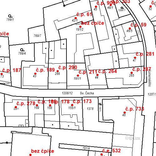 Katastrální mapa Stavební objekt Bílovice nad Svitavou 211, Bílovice nad Svitavou