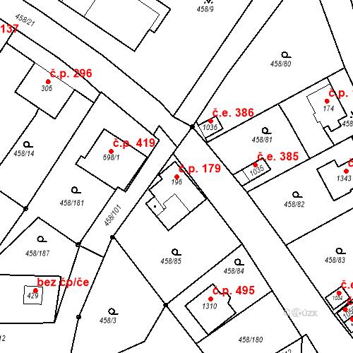 Katastrální mapa Stavební objekt Adamov 179, Adamov