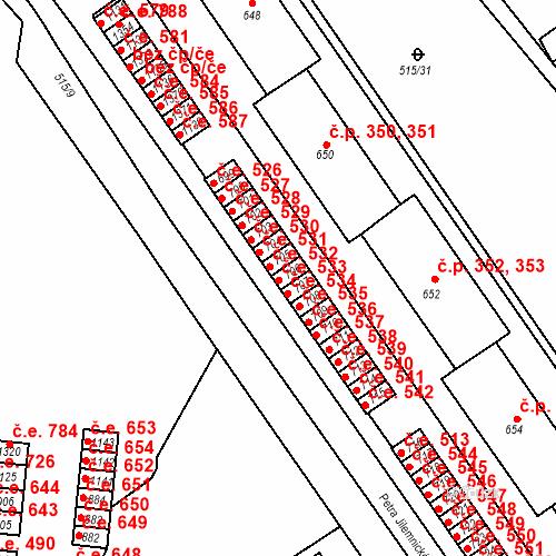 Katastrální mapa Stavební objekt Adamov 533, Adamov