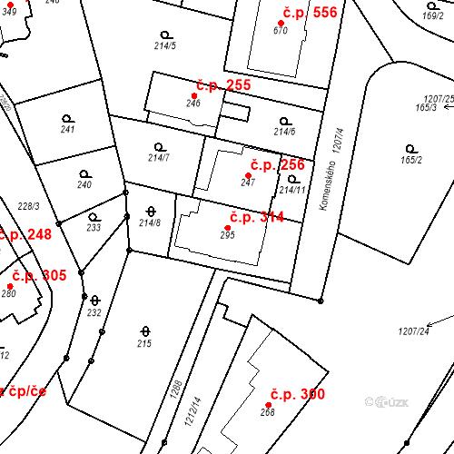 Katastrální mapa Stavební objekt Bílovice nad Svitavou 314, Bílovice nad Svitavou